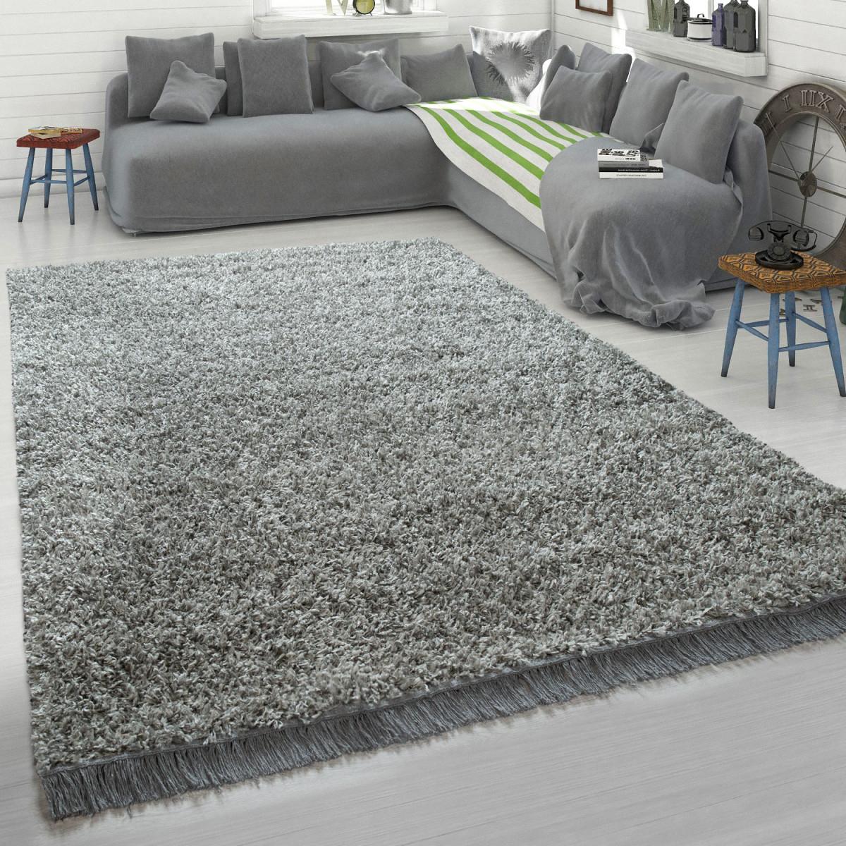 Grauer Teppich Wohnzimmer Hochflor Shaggy Weich Robust Strapazierfähig  Kuschelig von Teppich Für Wohnzimmer Bild
