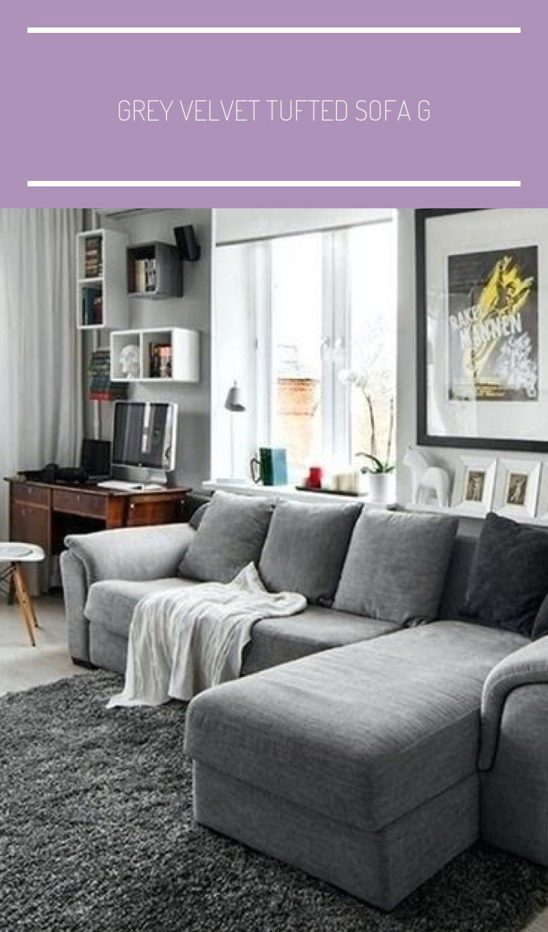 Grey Velvet Tufted Sofa Gray Couch Living Room Ideas von Graue Deko Wohnzimmer Bild