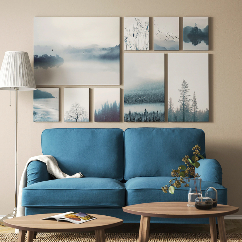 Grönby Bild 9Erset  Blaue Landschaft  Ikea Deutschland von Blaue Deko Wohnzimmer Bild