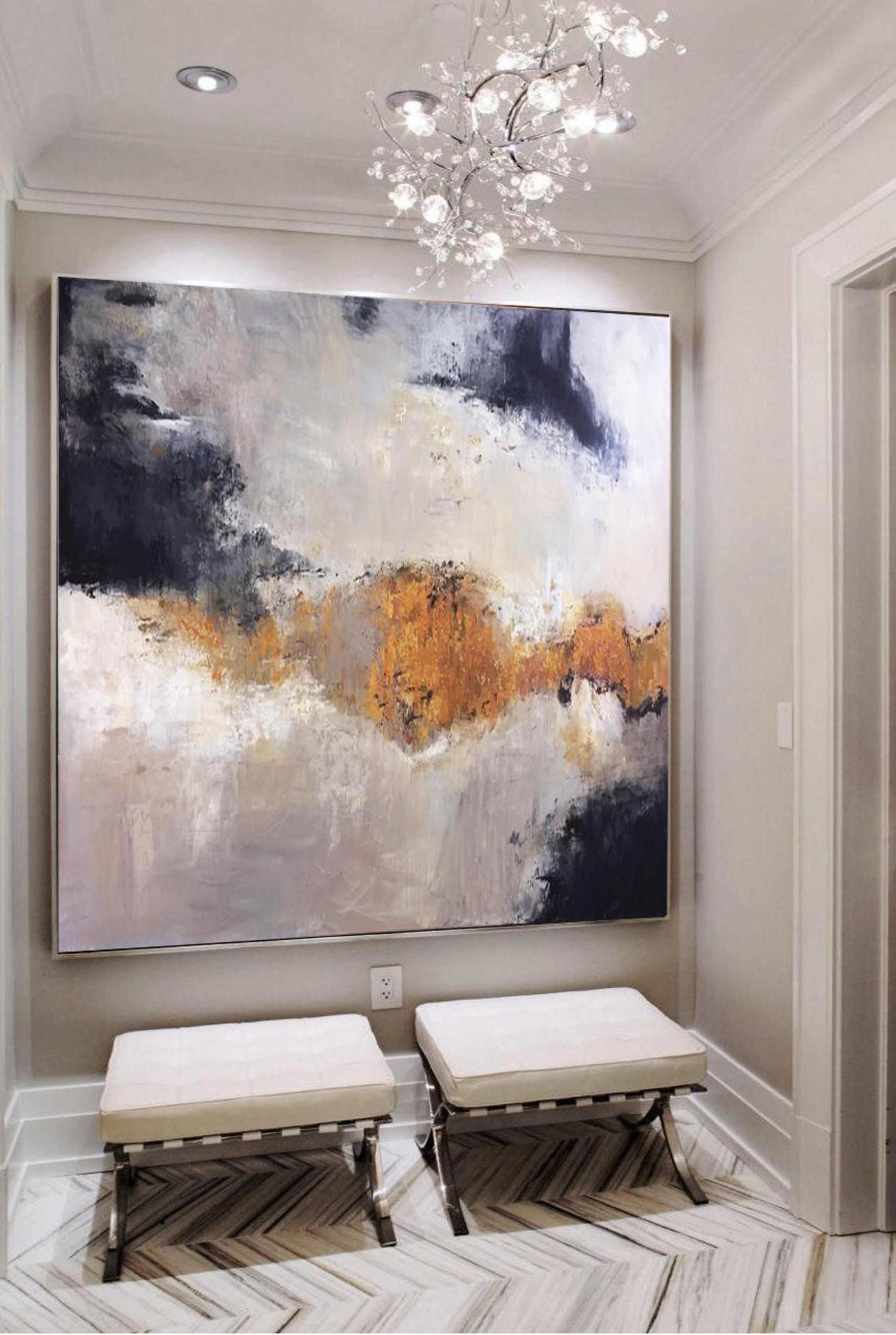 Große Gemälde Auf Leinwand Original Gold Malerei Weiß von Moderne Gemälde Wohnzimmer Photo