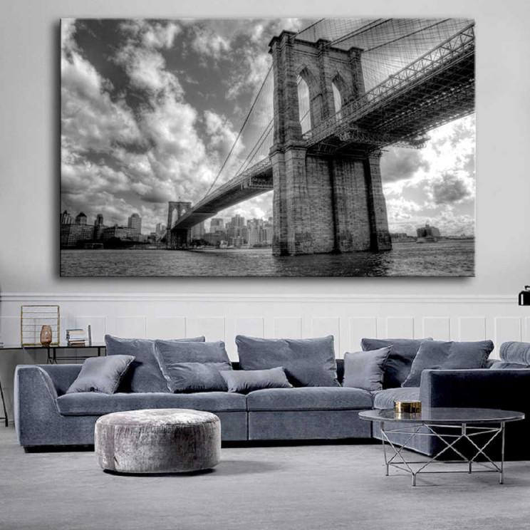 Große Moderne Schwarz Und Weiß Brooklyn Bridge Landschaft von Moderne Gemälde Wohnzimmer Bild