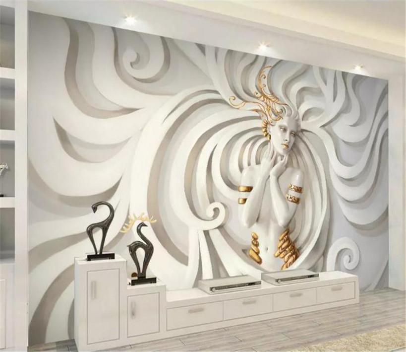 Großhandel 3D Wallpape Prägte Dreidimensionales Langes Haar Fliegen  Schönheits Schlafzimmer Hintergrund Wand Dekorations Tapete Des Wohnzimmer  3D Von von Wohnzimmer Tapeten 3D Photo