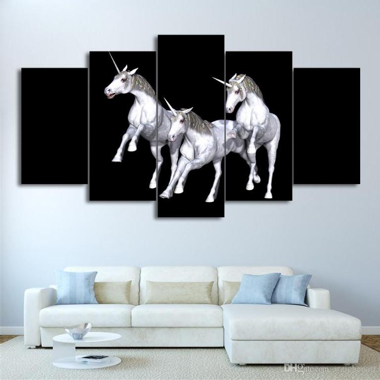 Großhandel Hd Printed 5 Stück Leinwand Kunst Abstract White Horse Painting  Gerahmte Wandbilder Für Wohnzimmer Freies Verschiffen Cu 2307A Von von Gerahmte Bilder Für Wohnzimmer Photo