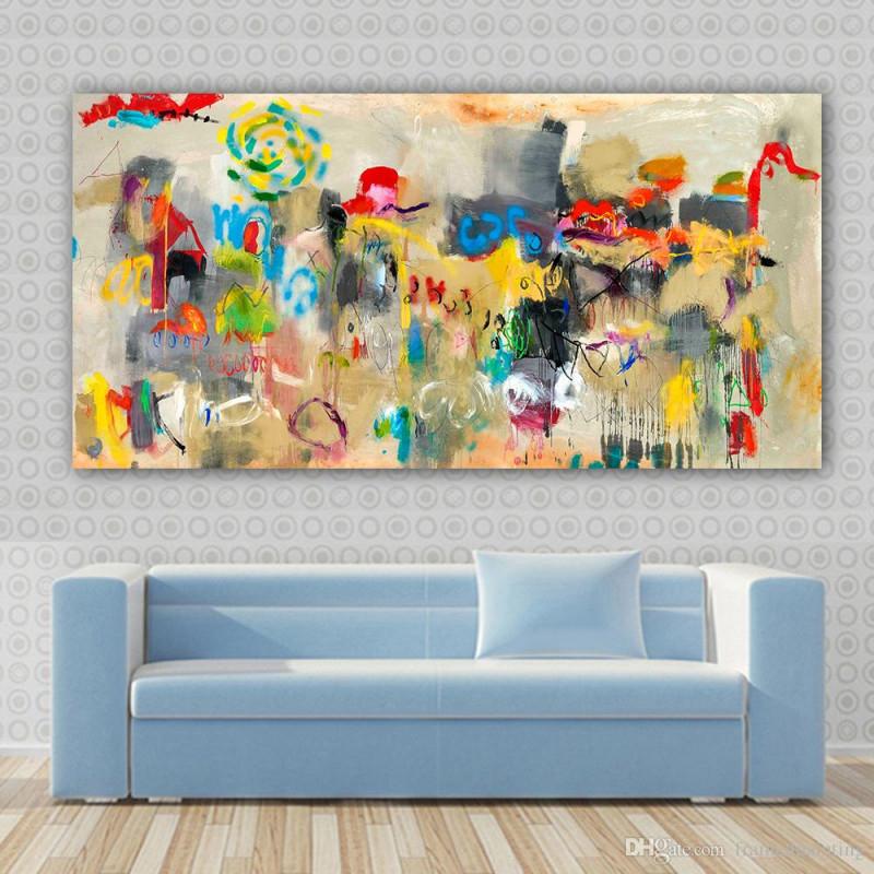 Großhandel Leinwand Wandkunst Große Abstrakte Ölgemälde Wandbilder Für  Wohnzimmer Poster Wohnkultur Kein Rahmen Von Framedpainting 2192 € Auf von Bilder Fürs Wohnzimmer Leinwand Bild