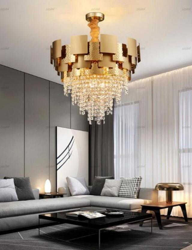Großhandel Manggic Modern Luxury Kronleuchter Beleuchtung Wohnzimmer Lampen  Goldkristallhänge Led Kronleuchter Hauptdekoration Lampen Lichtbeleuchtung von Scheinwerfer Lampe Wohnzimmer Photo