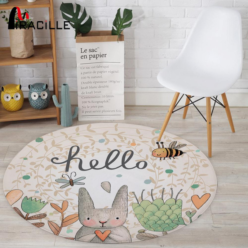 Großhandel Miracille Cartoon Kaninchen Gedruckt Runder Teppich Für  Wohnzimmer Computer Stuhl Bereich Teppich Kinder Spielen Zelt Bodenmatte  Garderobe von Wohnzimmer Runder Teppich Bild