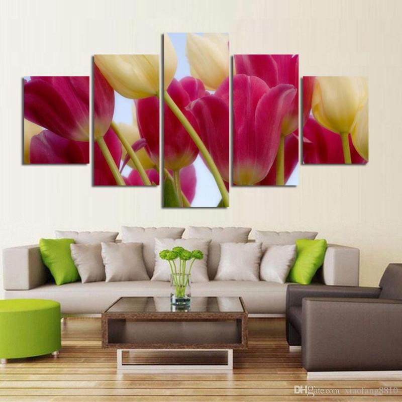 Großhandel  Set Blumen Leinwand Gemälde Rote Rose Moderne Kunst Wandbilder  Für Wohnzimmer Unframed Hd Printed Von Xiaofang8810 581 € Auf von Kunst Bilder Wohnzimmer Bild