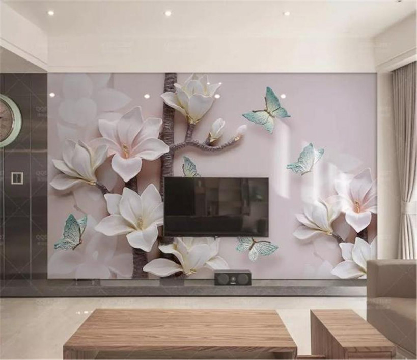 Großhandel Telefon 3D Tapete Schöner Rosa Embossed Magnolia Schmetterling  Wohnzimmer Schlafzimmer Hintergrund Wanddekoration Wandbild Tapete Von von Wohnzimmer 3D Tapeten Bild
