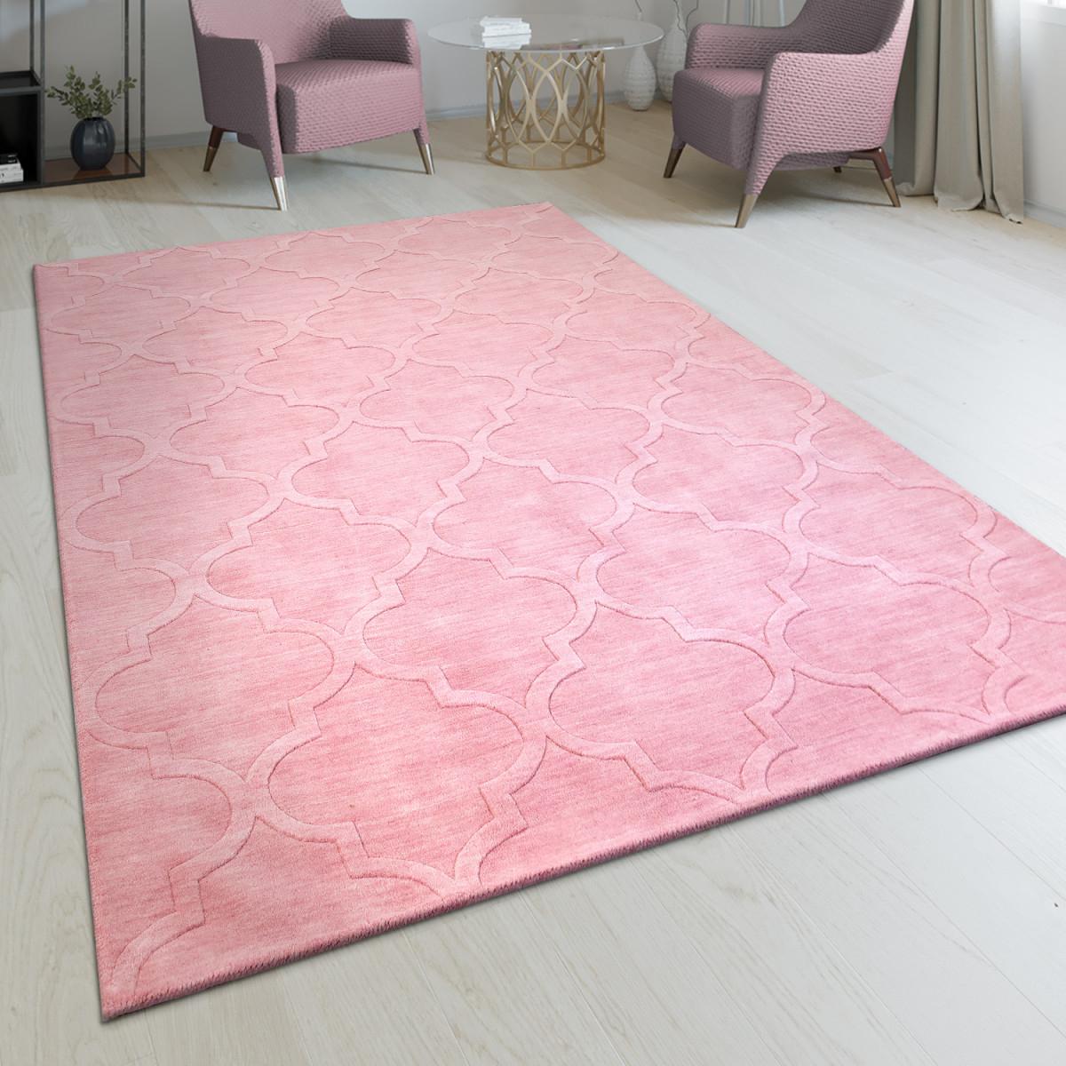 Handgefertigter Wohnzimmer Teppich Marokkanisches Design Orient Pastell Rosa von Wohnzimmer Teppich Rosa Bild