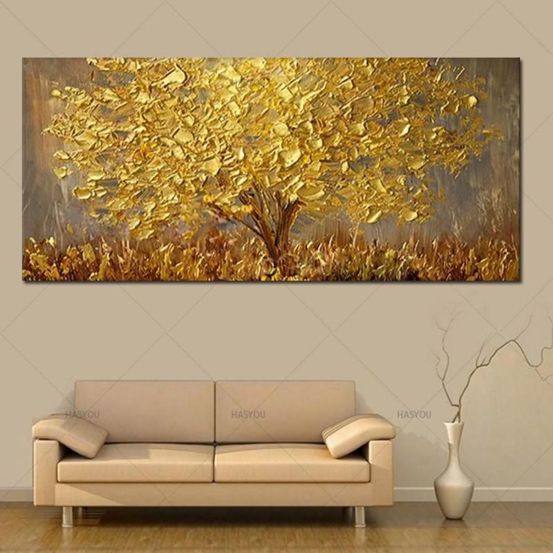 Handgemalte Messer Gold Baum Ölgemälde Auf Leinwand Große von Bilder Fürs Wohnzimmer Leinwand Photo