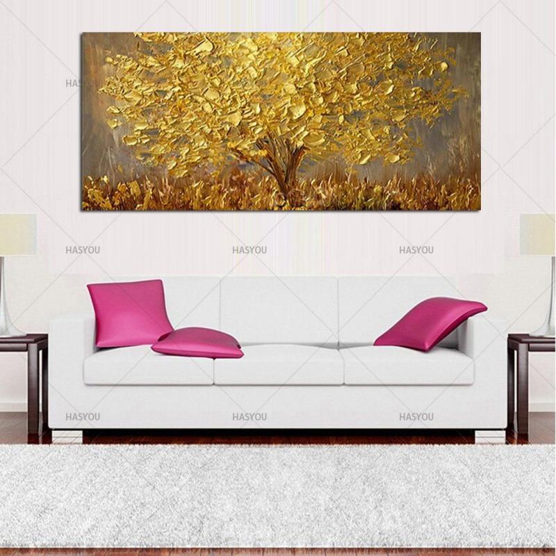 Handgemalte Messer Gold Baum Ölgemälde Auf Leinwand Große von Moderne Gemälde Wohnzimmer Photo