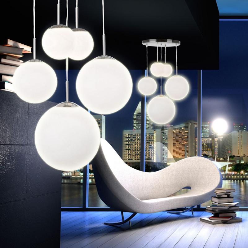 Hängelampe 5Flammig Aus Metall Und Satiniertem Glas Balla von Deckenleuchte Für Großes Wohnzimmer Bild