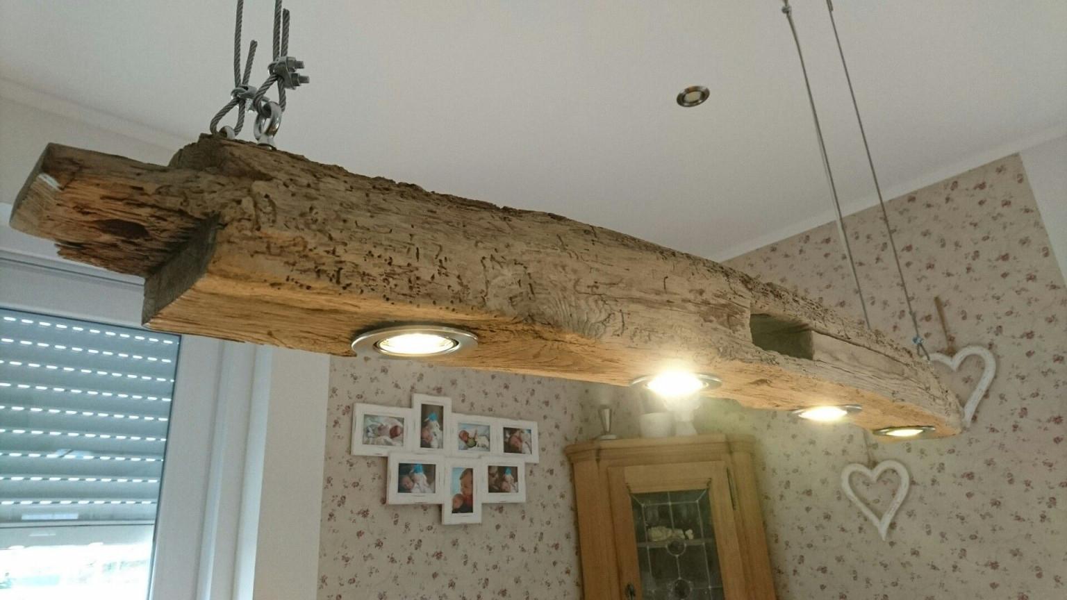 Hängelampe  Holz  Eiche Esstisch  Antik  Balken von Wohnzimmer Lampe Holzbalken Photo
