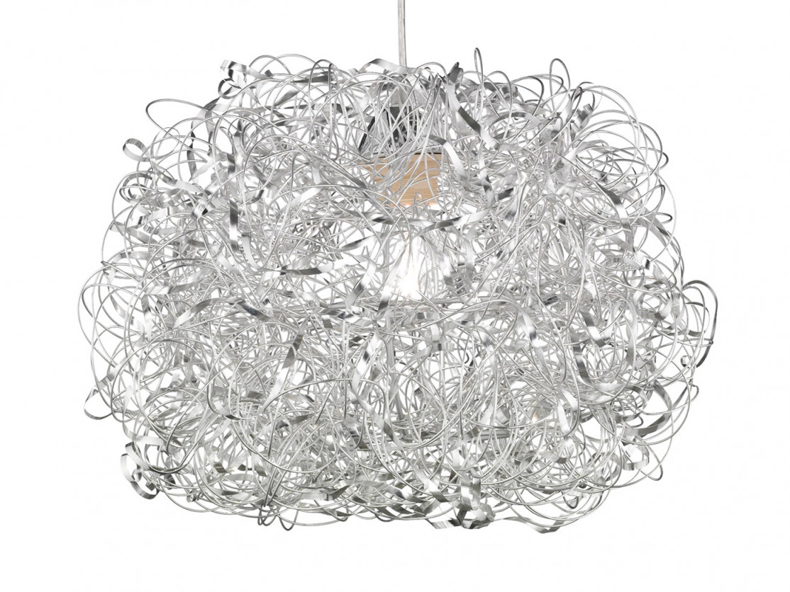 Hängeleuchte Silber Ø 40Cm E27 Esstisch Lampe Pendelleuchte Wohnzimmer Flur von Wohnzimmer Lampe Silber Bild