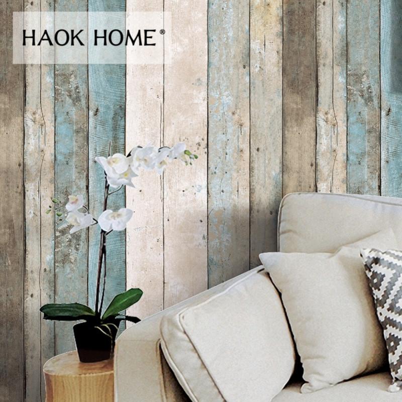 Haokhome Vintage Holz Tapete Für Wände 3D 053 M  10M von Tapeten Wohnzimmer Vintage Photo