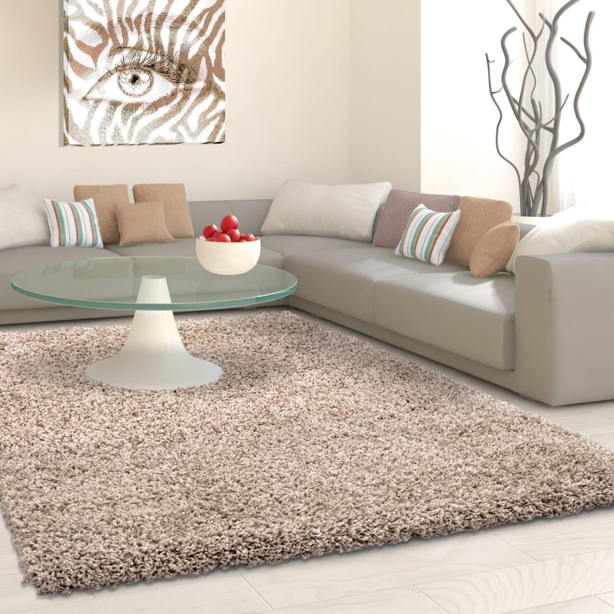 Hochflor Langflor Wohnzimmer Shaggy Teppich Florhöhe 3Cm Unifarbe Beige von Wohnzimmer Teppich 200X200 Bild