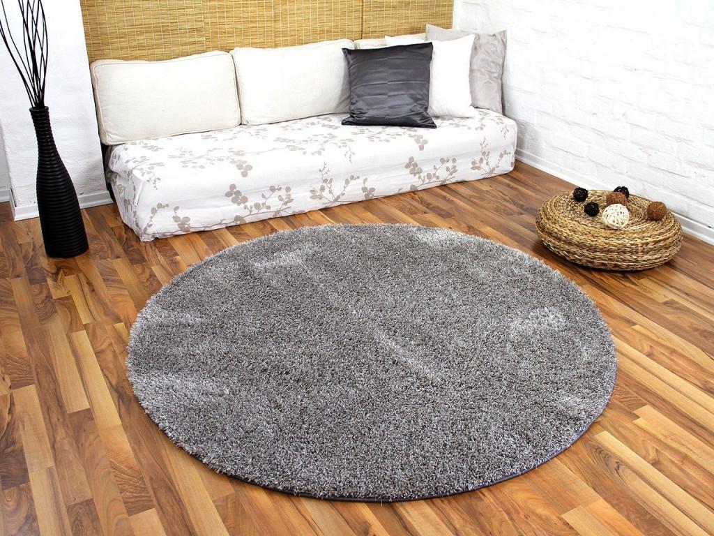 Hochflor Shaggy Teppich Luxus Feeling Mix Silber Rund In 7 von Teppich Rund Wohnzimmer Bild