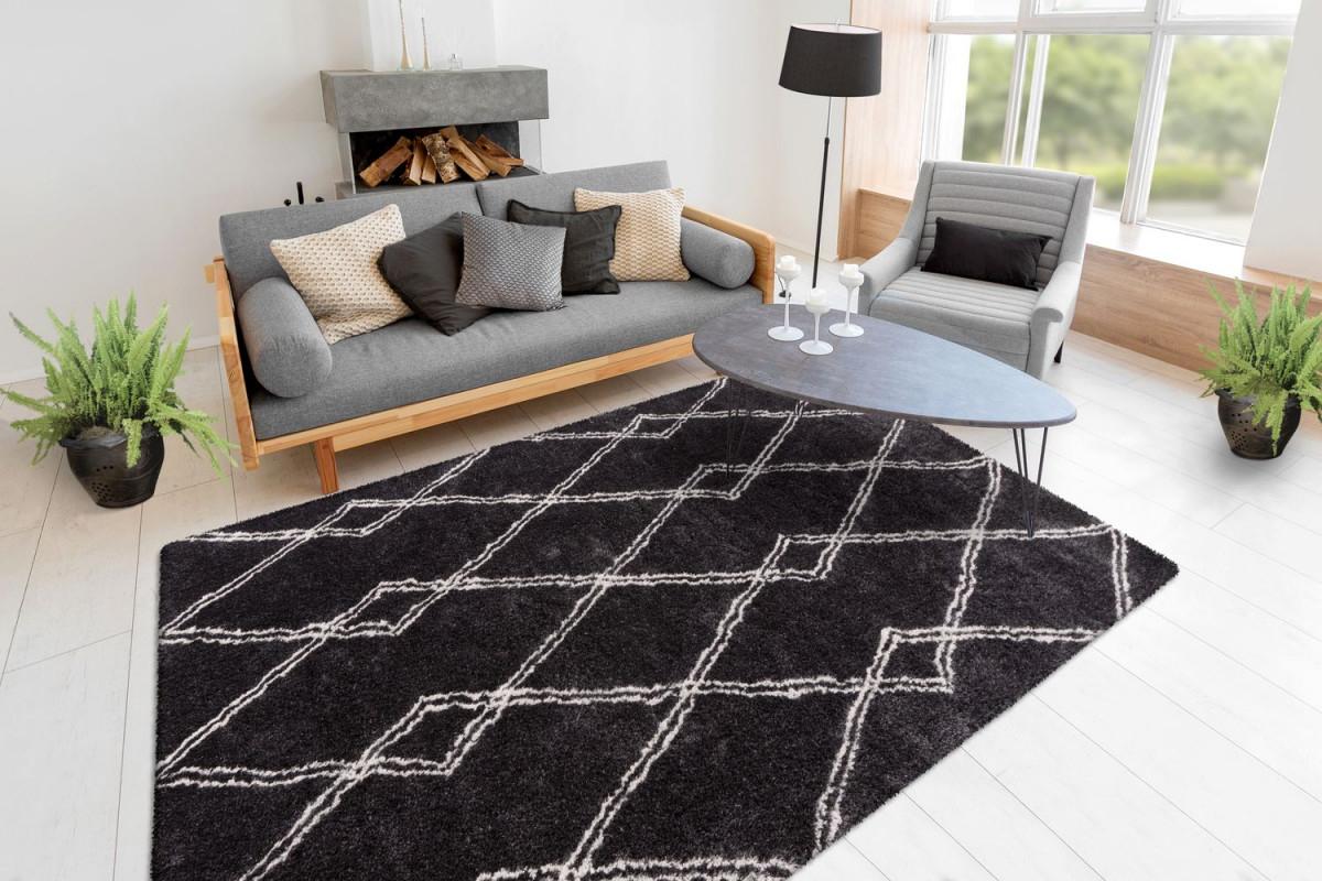 Hochflor Shaggy Teppich Rauten Berber Muster Wohnzimmer Schwarz  Wohnzimmerteppich Esszimmerteppich Teppichläufer Flurläufer Verschied  Farben von Teppich Wohnzimmer Schwarz Bild