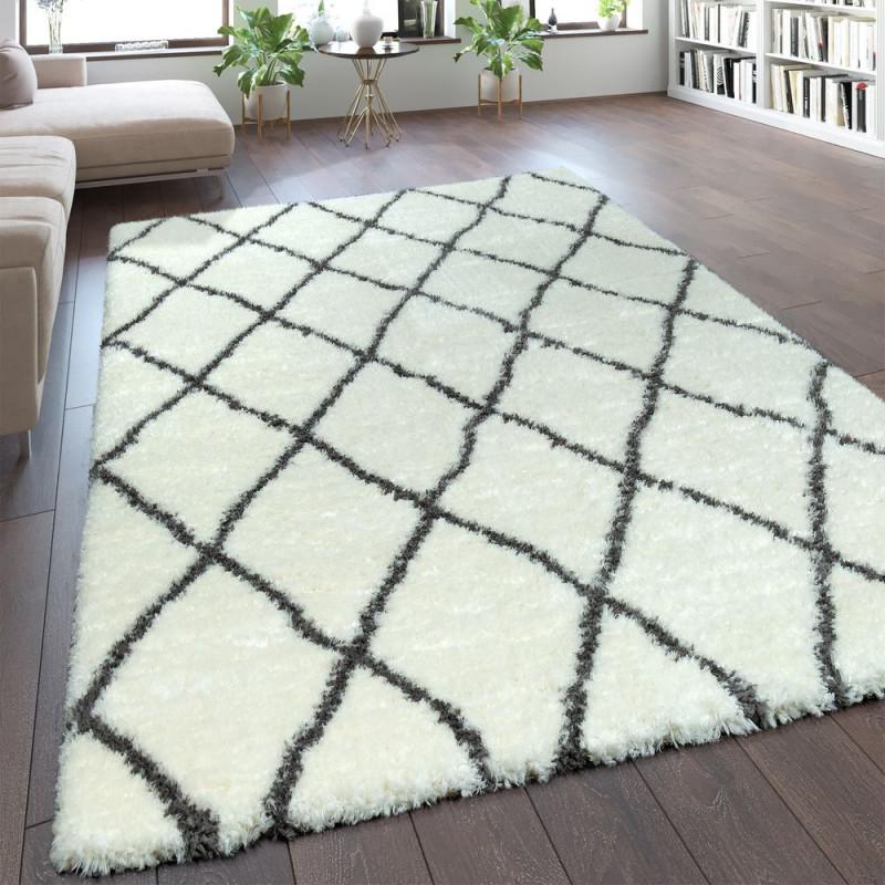 Hochflor Teppich Rauten Muster Creme von Weisser Teppich Wohnzimmer Bild