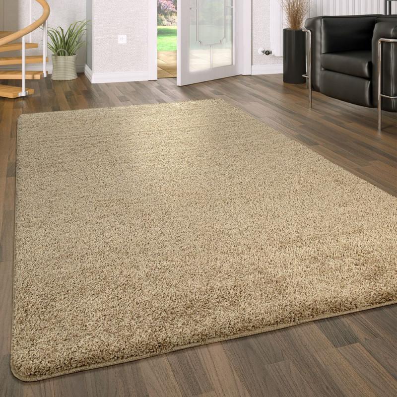 Hochflor Teppich Waschbar Einfarbig Beige von Wohnzimmer Teppich Waschbar Bild