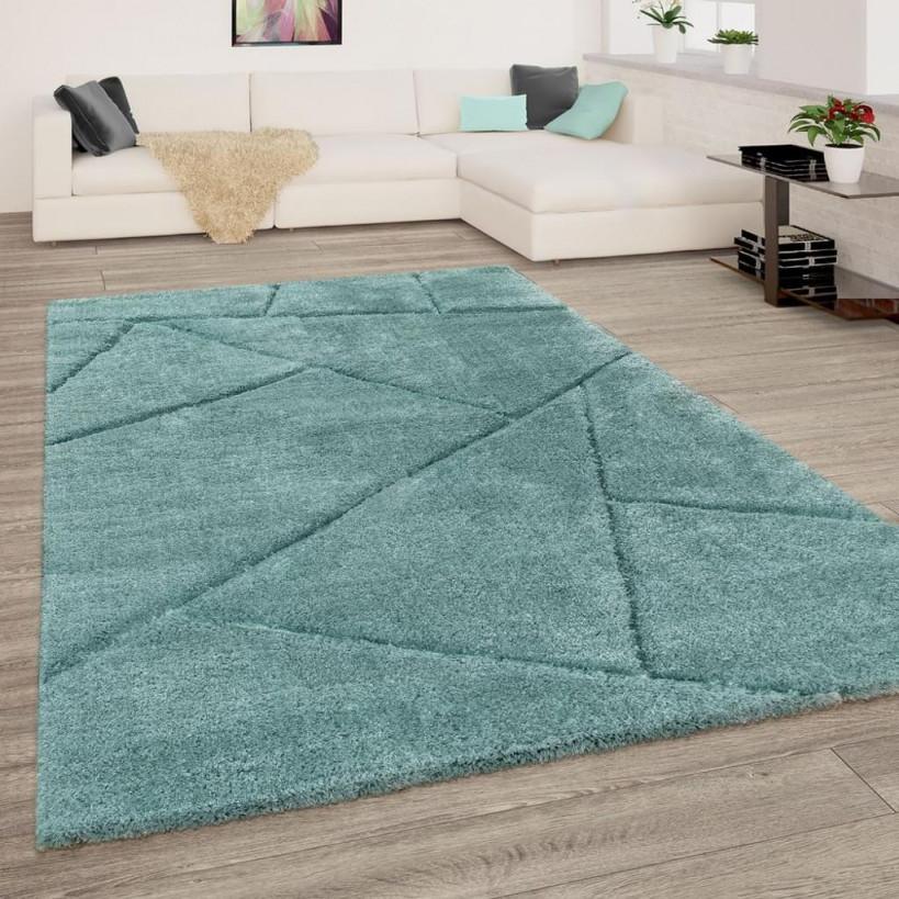 Hochflor Teppich Wohnzimmer Grün Weich Shaggy Flauschig Abstraktes 3D  Muster von Wohnzimmer Teppich Grün Bild