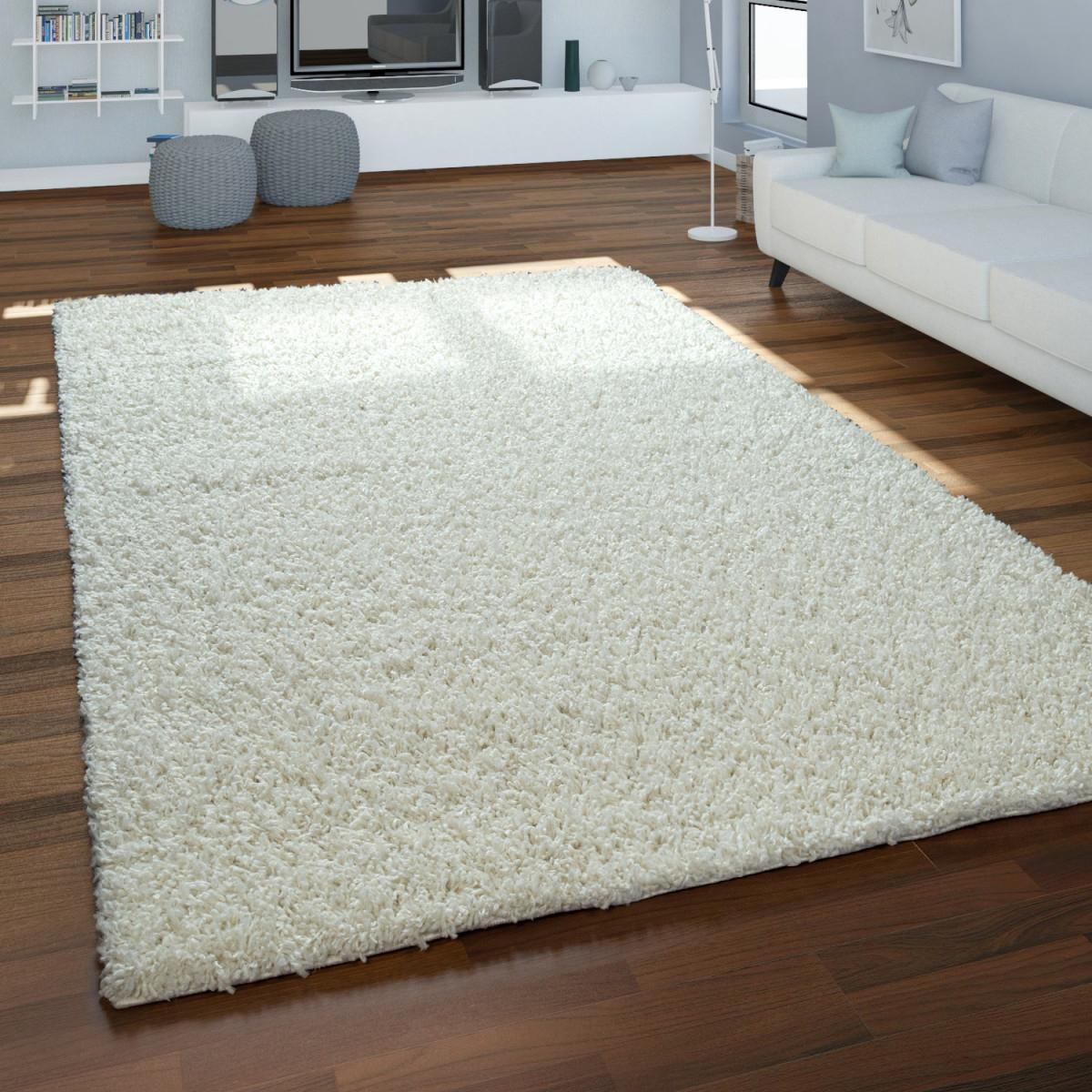 Hochflor Teppich Wohnzimmer Kuschelig Weich Shaggy Creme von Teppich Für Wohnzimmer Bild