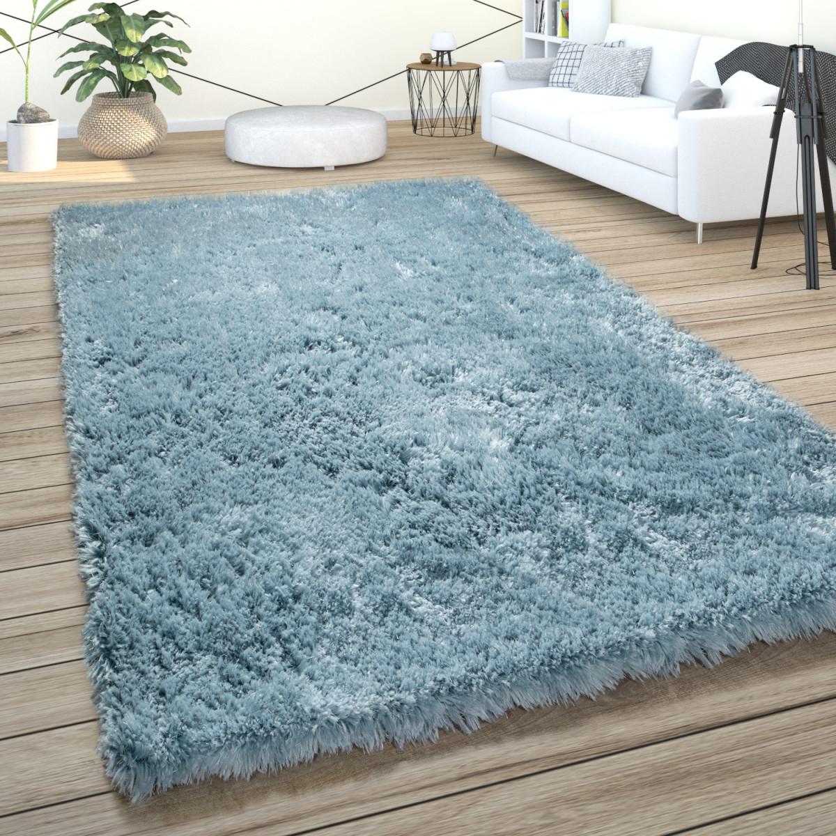 Hochflor Teppich Wohnzimmer Shaggy Pastell Einfarbig Weich Flauschig Türkis von Teppich Wohnzimmer Türkis Bild