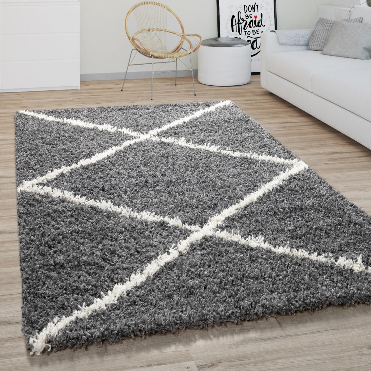 Hochflor Teppich Wohnzimmer Shaggy Skandinavisches Rauten Muster Modern  Dunkel Grau von Wohnzimmer Teppich Grau Photo