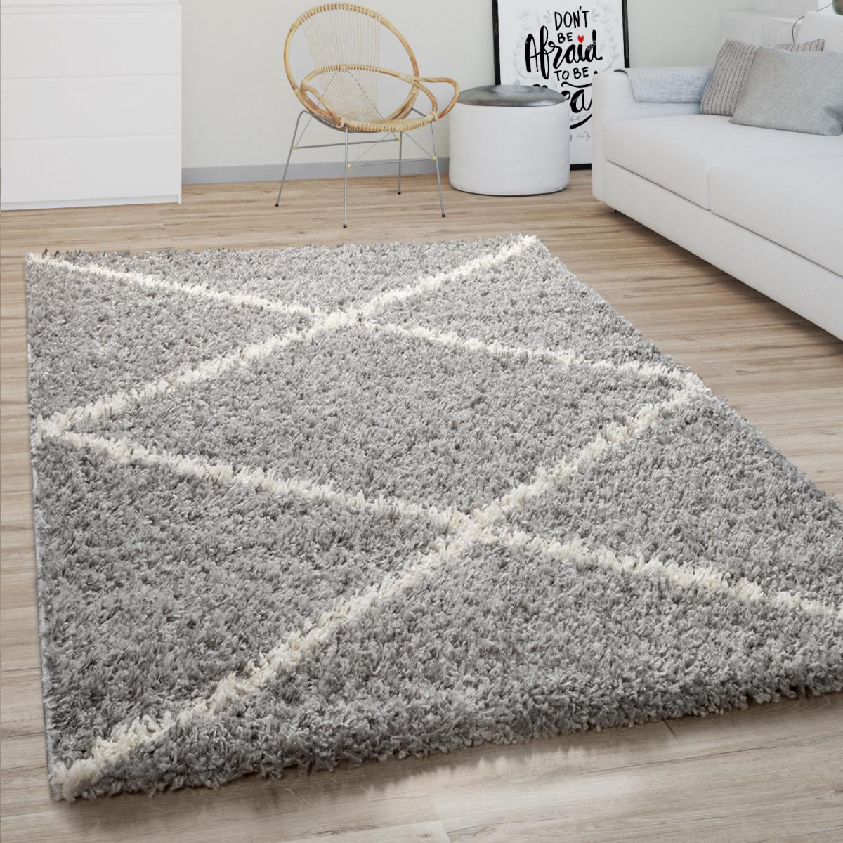 Hochflor Teppich Wohnzimmer Shaggy Skandinavisches Rauten Muster Modern In  Grau von Teppich Wohnzimmer Modern Photo
