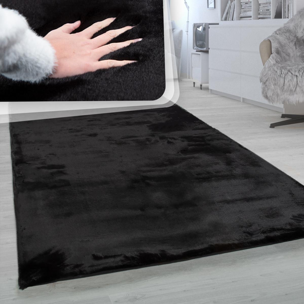 Hochflor Teppich Wohnzimmer Super Softes Kaninchenfell Imitat Kunstfell  Schwarz von Wohnzimmer Teppich Schwarz Photo