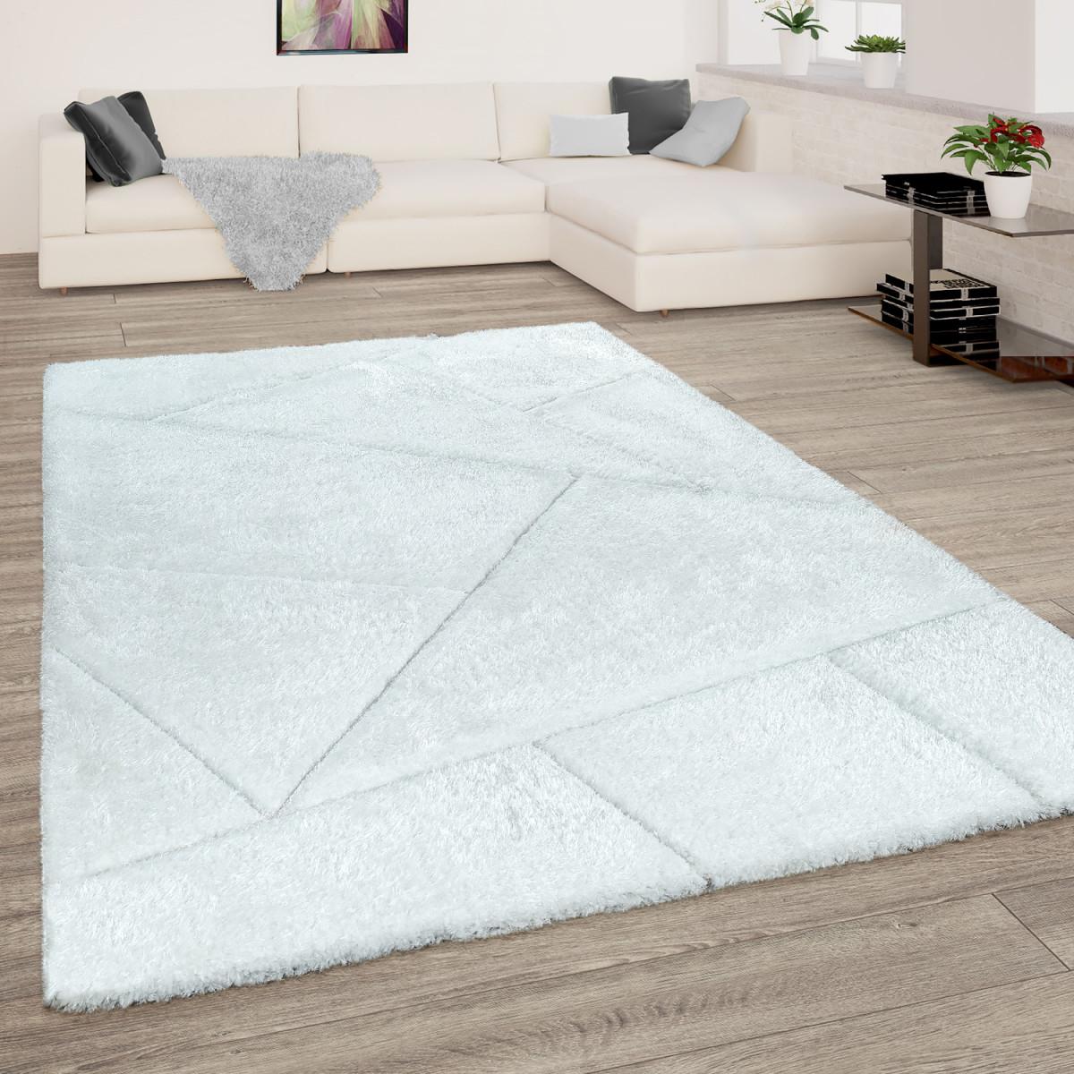 Hochflor Teppich Wohnzimmer Weiß Shaggy Weich Flauschig Muster 3D Design  Robust von Weisser Teppich Wohnzimmer Photo