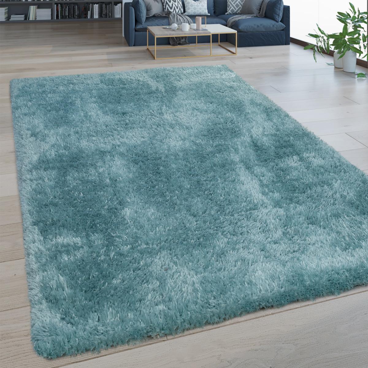 Hochflor Wohnzimmer Teppich Waschbar Shaggy Flokati Optik Einfarbig In  Türkis Grösse80X150 Cm von Teppich Waschbar Wohnzimmer Bild