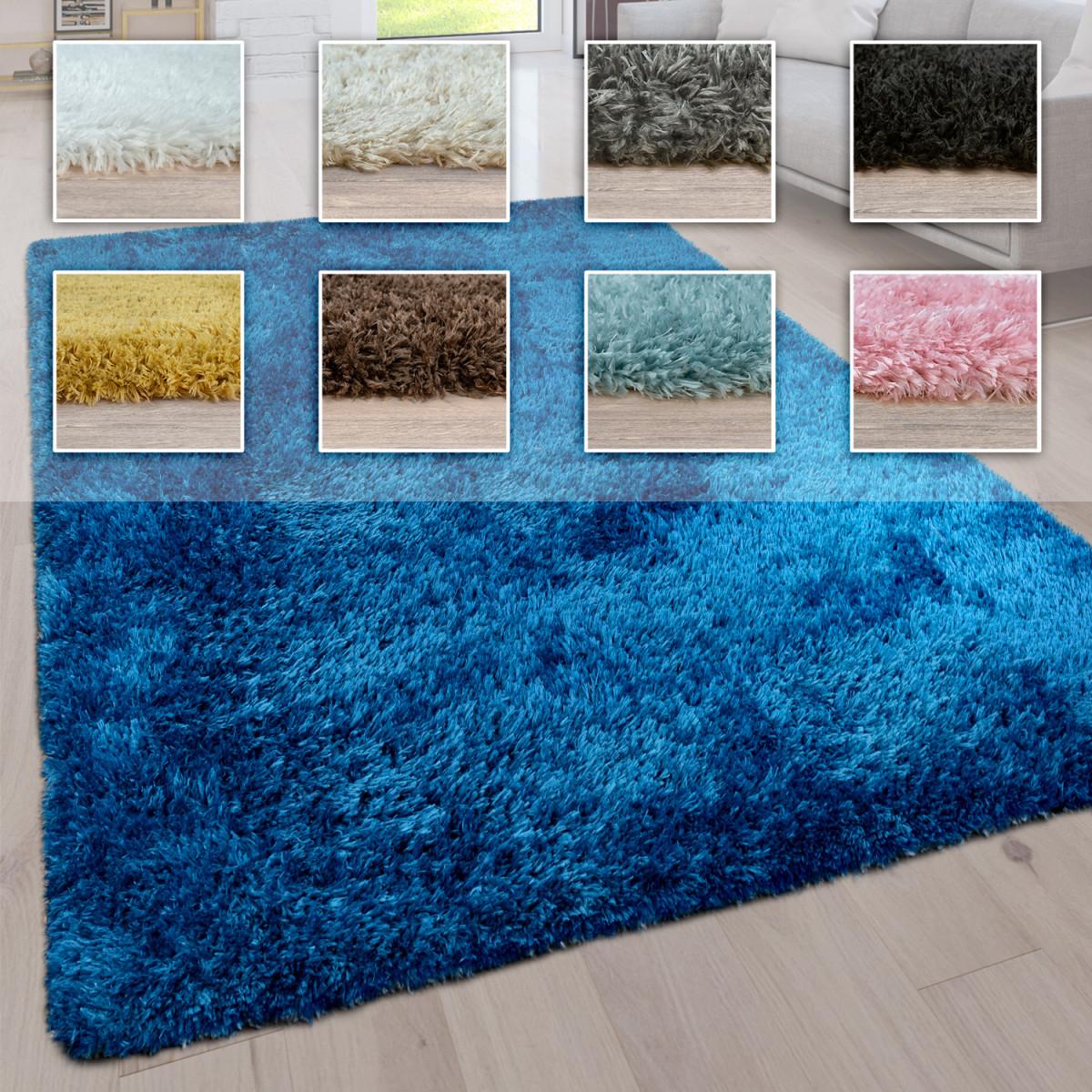 Hochflor Wohnzimmer Teppich Waschbar Shaggy Uni In Versch Größen U  Farben Grösse80X150 Cm Farbetürkis von Teppich Waschbar Wohnzimmer Bild