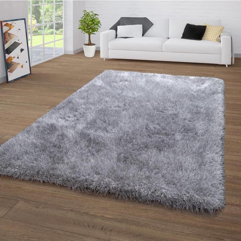 Hochflorteppich Für Wohnzimmer Shaggy Mit Glitzergarn Einfarbig In Grau von Wohnzimmer Teppich 140X200 Bild