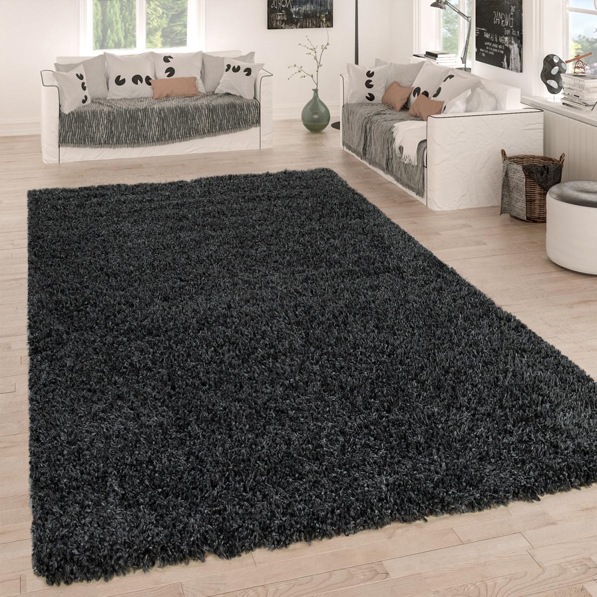 Hochflorteppich Kuschelig Shaggy Grau Anthrazit von Wohnzimmer Teppich 140X200 Bild