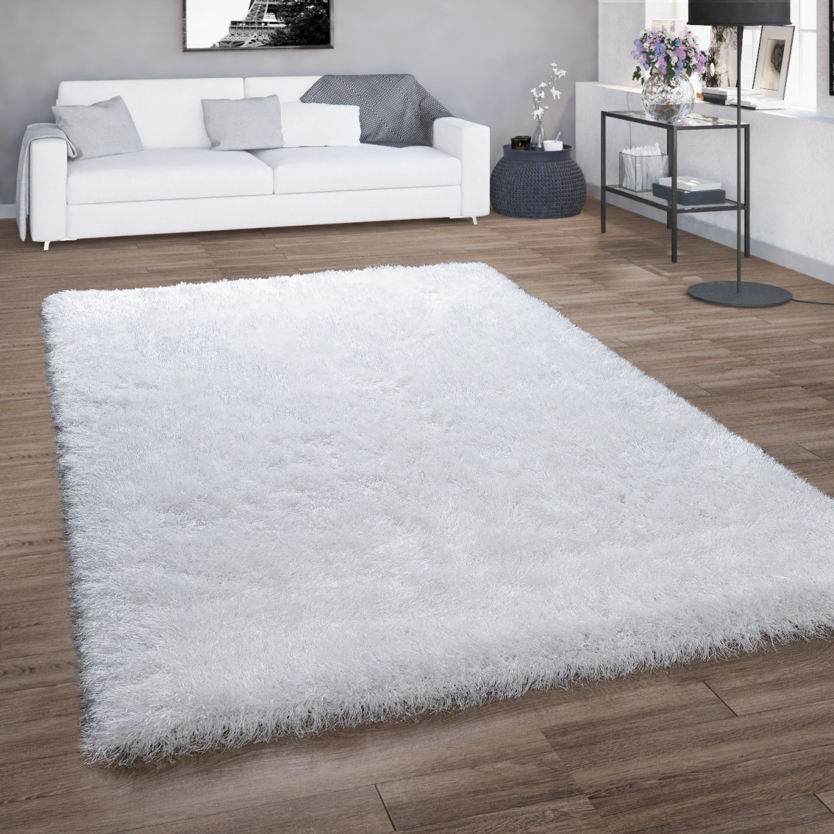 Hochflorteppich Shaggy Für Wohnzimmer Mit Glitzergarn Einfarbig In Weiß von Teppich Groß Wohnzimmer Photo