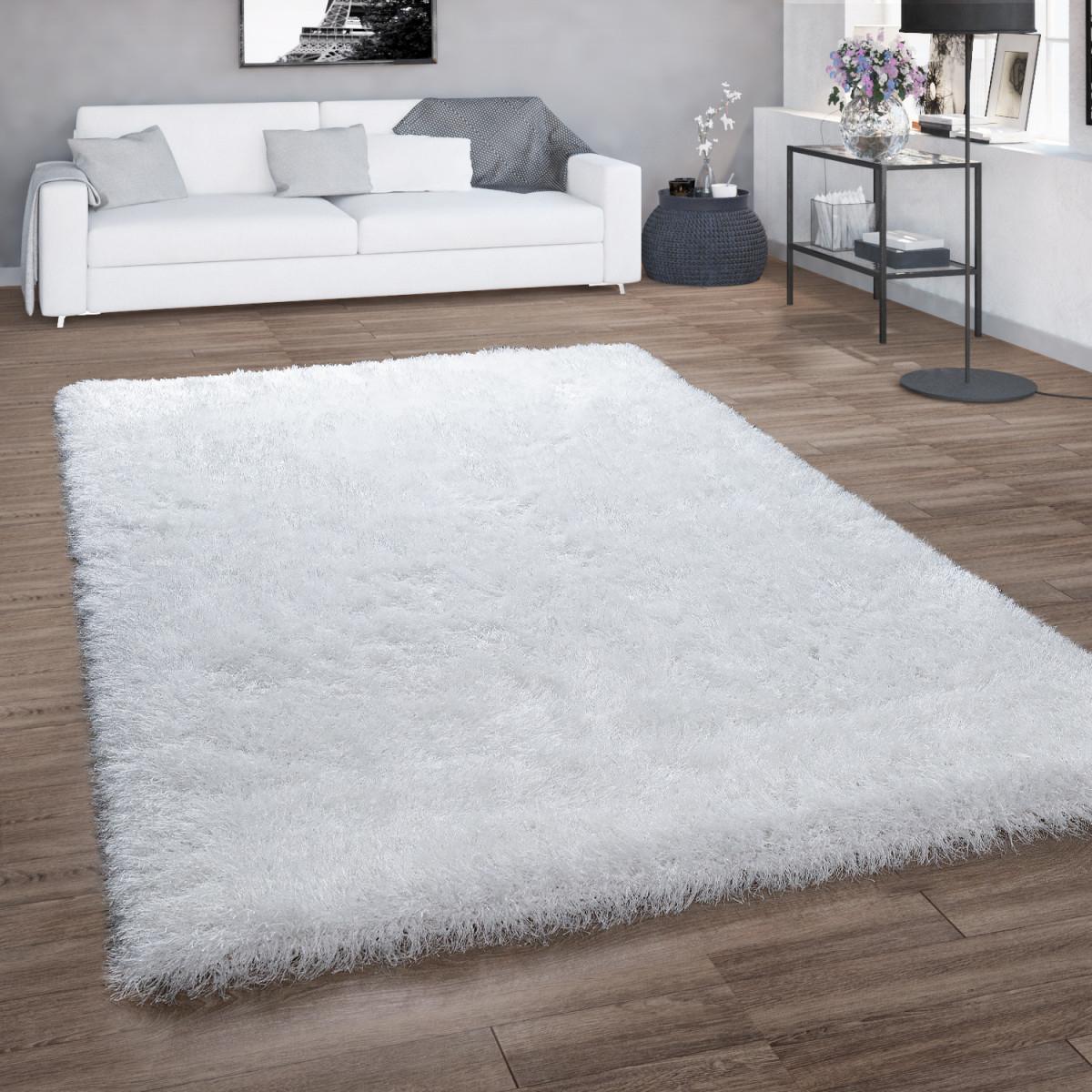 Hochflorteppich Shaggy Für Wohnzimmer Mit Glitzergarn Einfarbig In Weiß von Teppich Wohnzimmer Weiß Photo