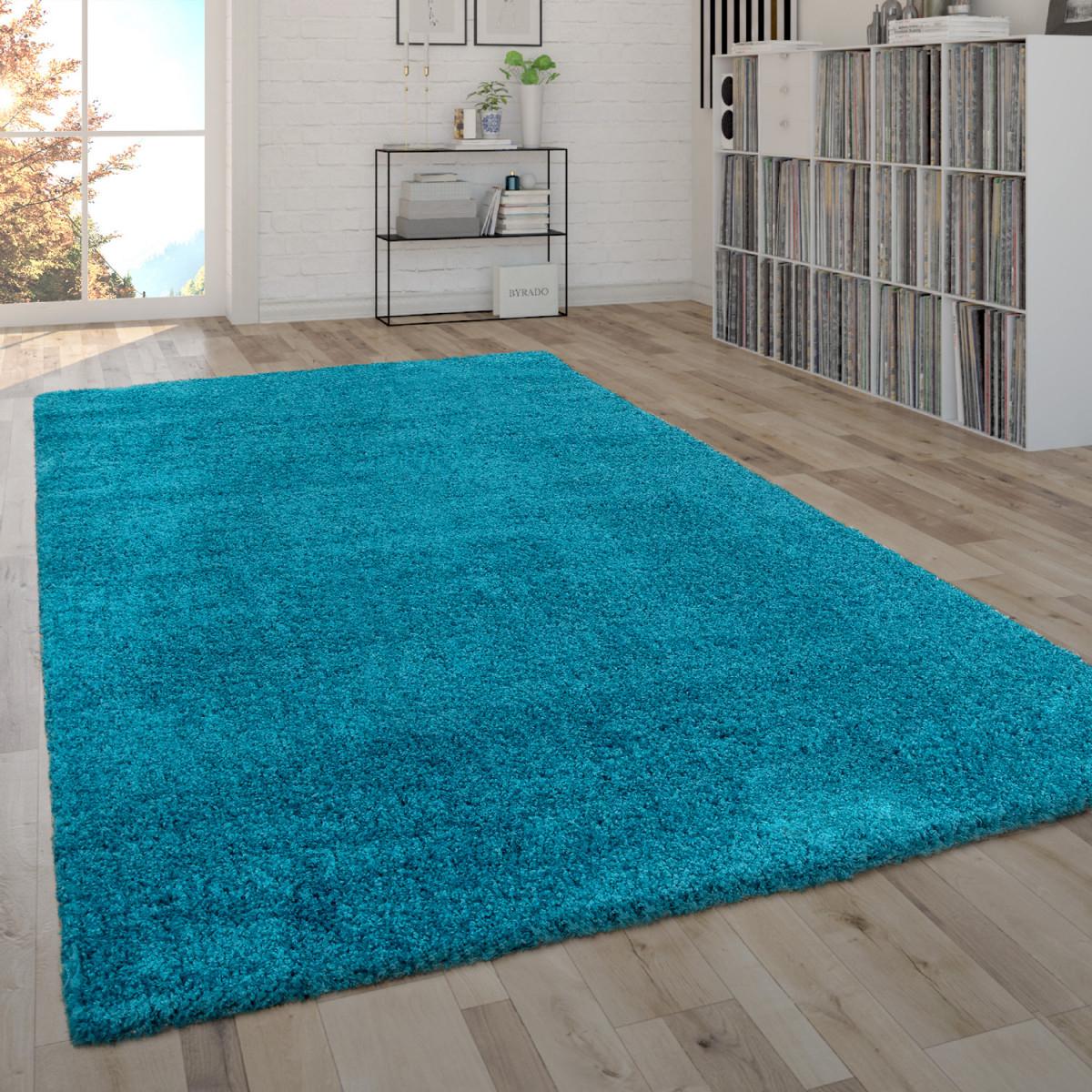 Hochflorteppich Shaggyteppich Moderner Wohnzimmerteppich In Türkis von Wohnzimmer Teppich Türkis Bild