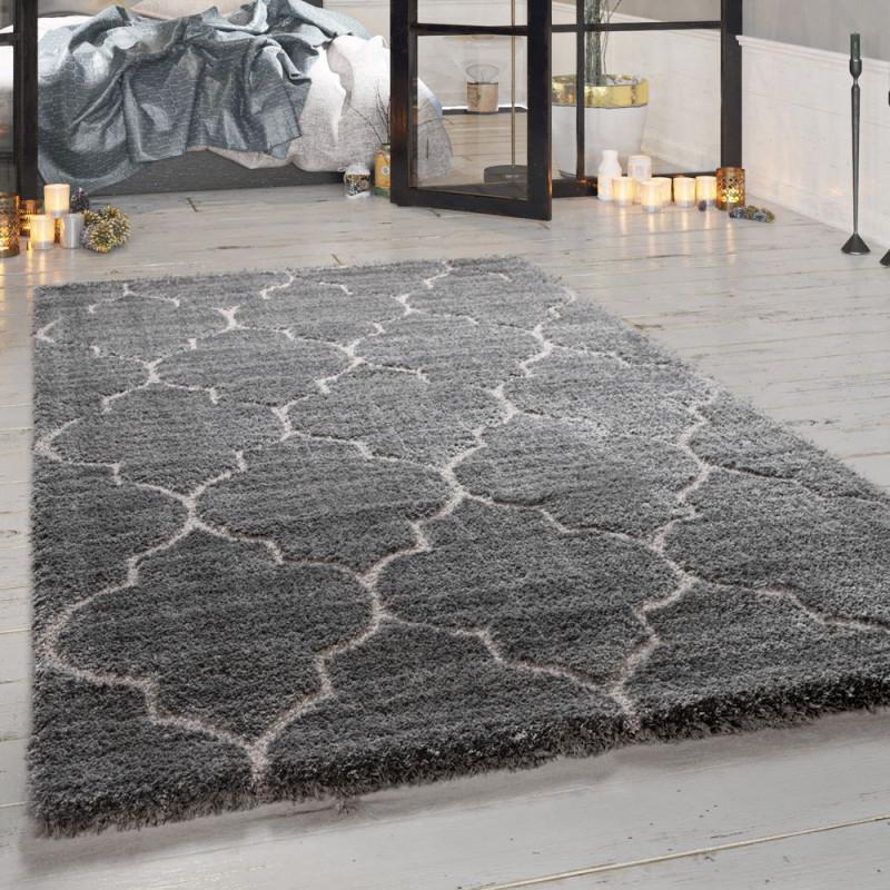 Hochflorteppich Wohnzimmer Orientdesign Grau von Teppich Wohnzimmer Grau Bild