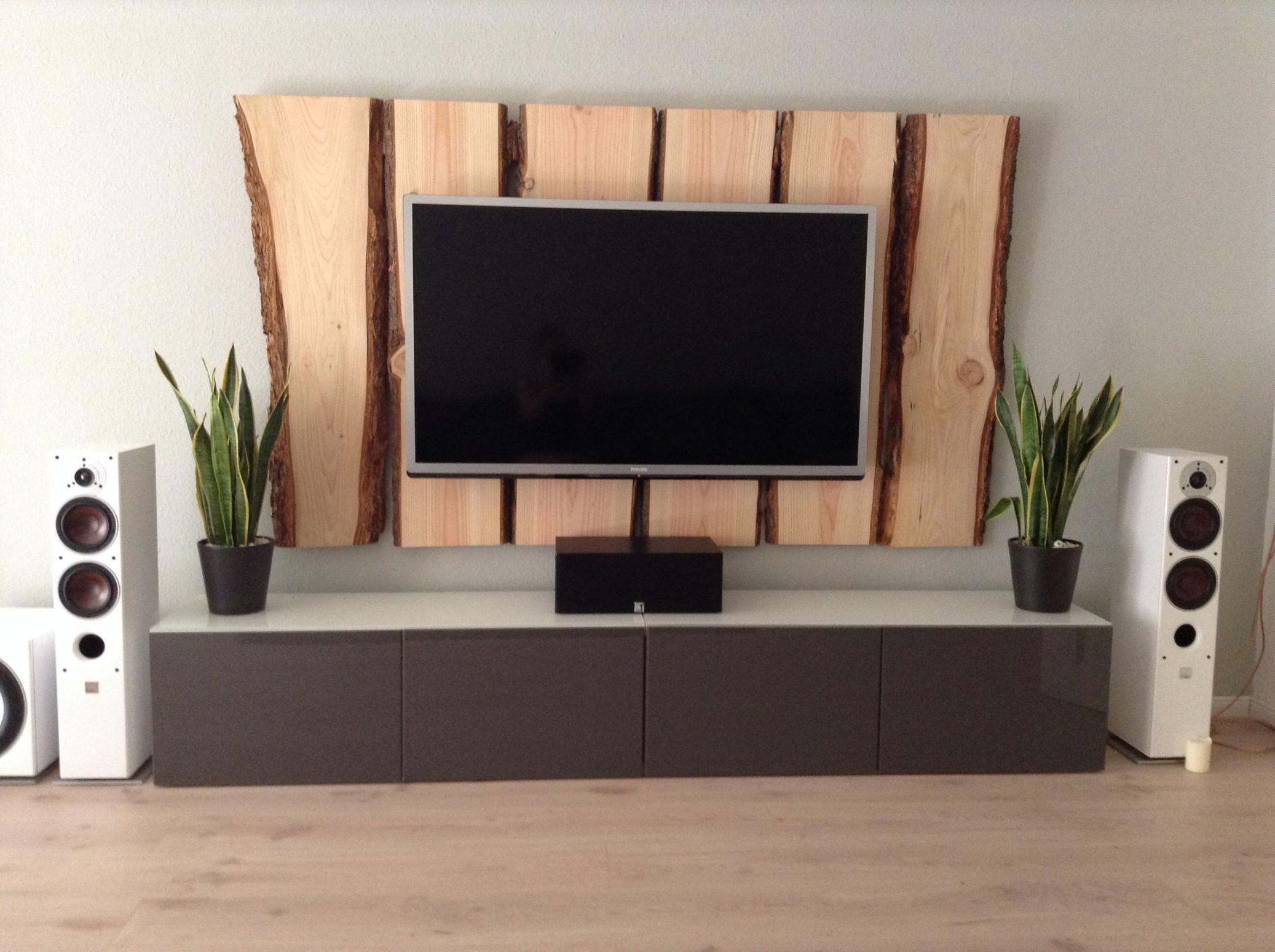 Holz Tv Wand  Tv Wall Wood  Tv Wand Holz Holzwand von Wohnzimmer Mit Holz Gestalten Bild