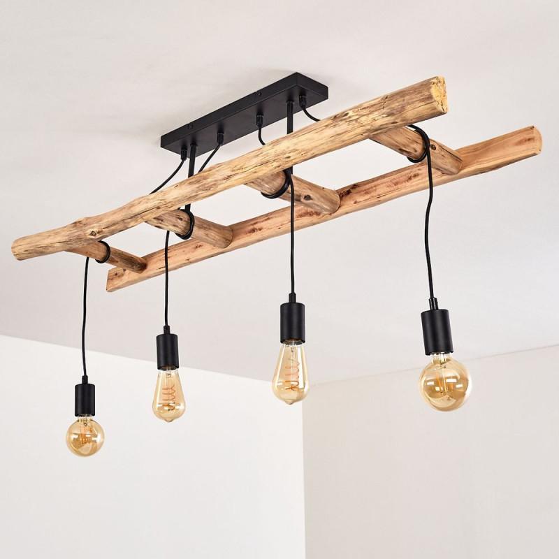 Holzleiter Lampe Leiter Deko Für Das Ess Oder Wohnzimmer von Deckenlampe Wohnzimmer Holz Bild