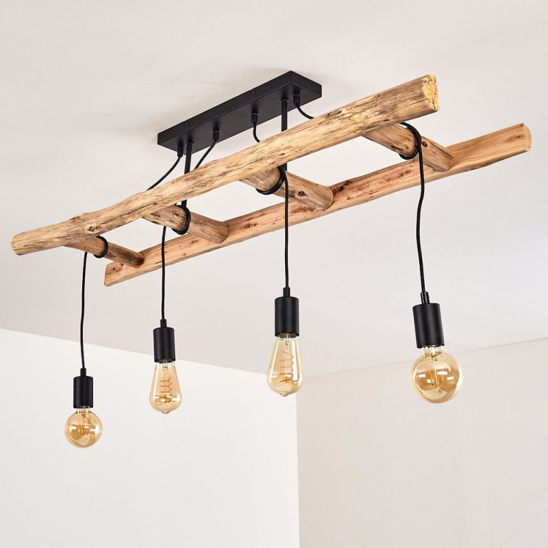 Holzleiter Lampe Leiter Deko Für Das Ess Oder Wohnzimmer von Wohnzimmer Lampe Holzbalken Bild