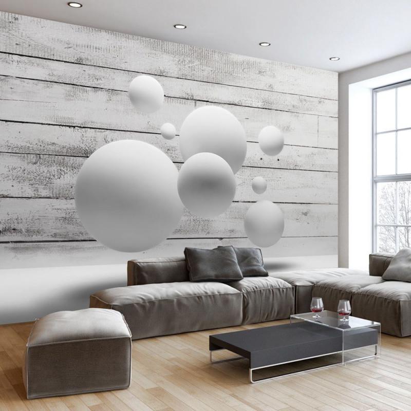 Holzoptik 3D Optik Kugeln Fototapete Vlies Tapete Xxl von Wohnzimmer Gestalten Tapete Photo