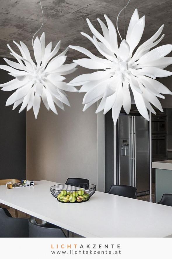 Ideal Lux Glas Pendelleuchte Leaves Weiß In 2020  Lampen von Wohnzimmer Lampe Weiß Bild