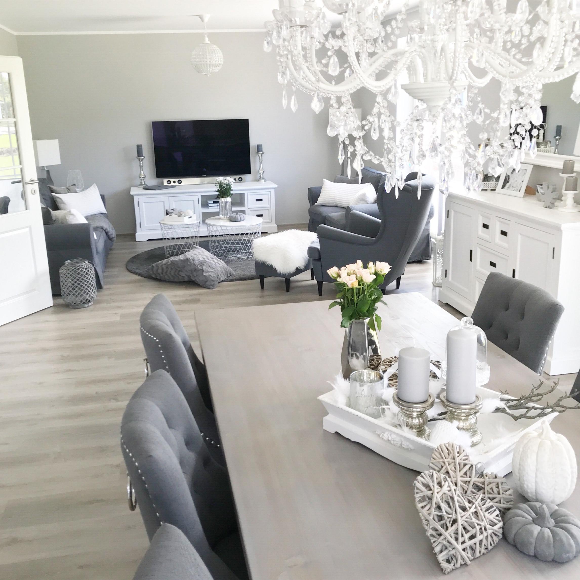 Instagram Wohnemotion Landhaus Esszimmer Diningroom Modern von Deko Grau Weiß Wohnzimmer Photo