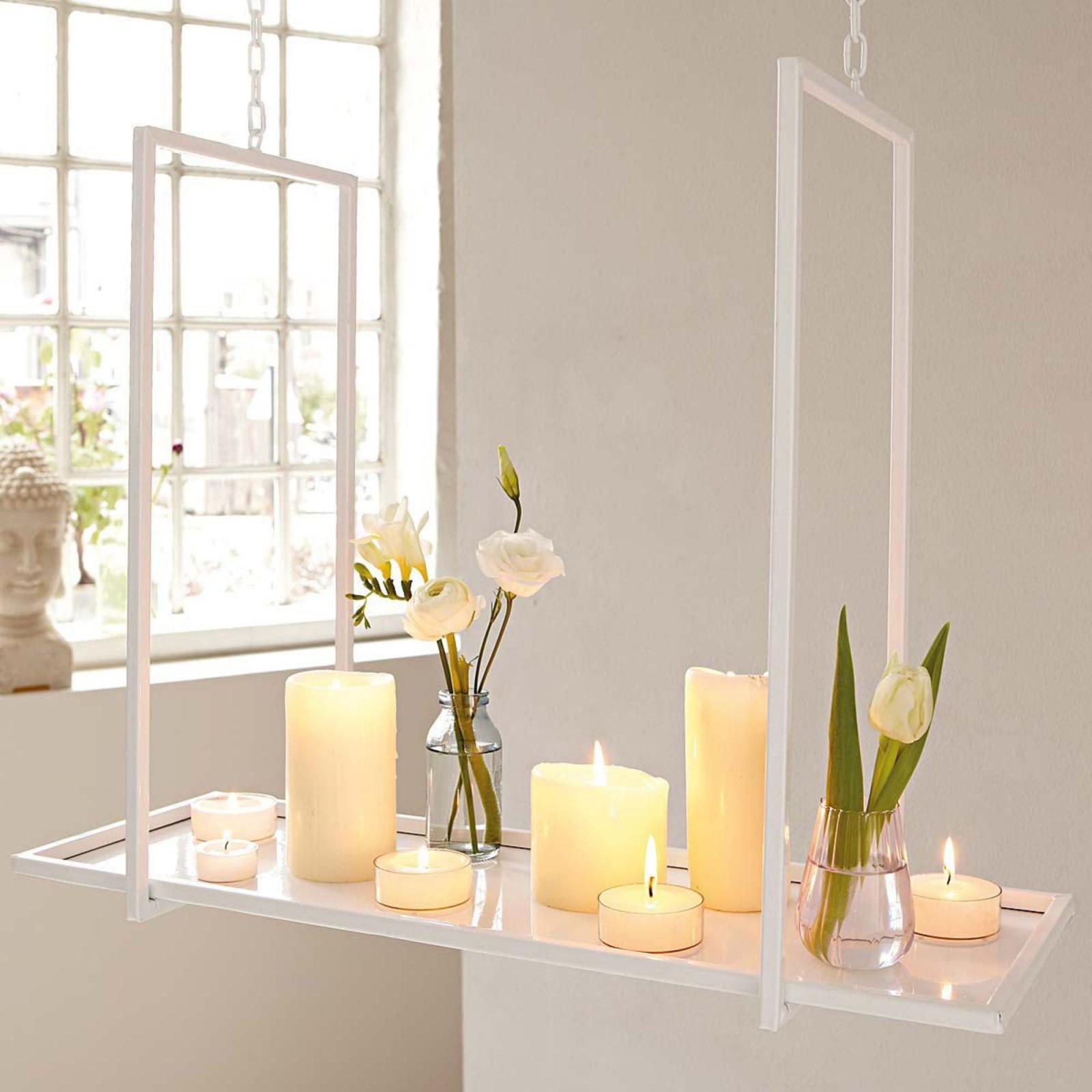 Kerzentablett Zum Hängen Weiß Zum Hängen Metall von Deko Hängend Wohnzimmer Bild