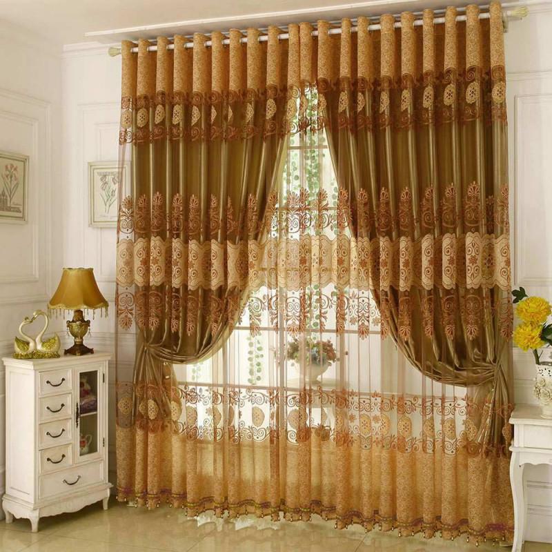 Klassisch Gardine Gold Jacquard Luxus Im Wohnzimmer von Luxus Gardinen Wohnzimmer Photo