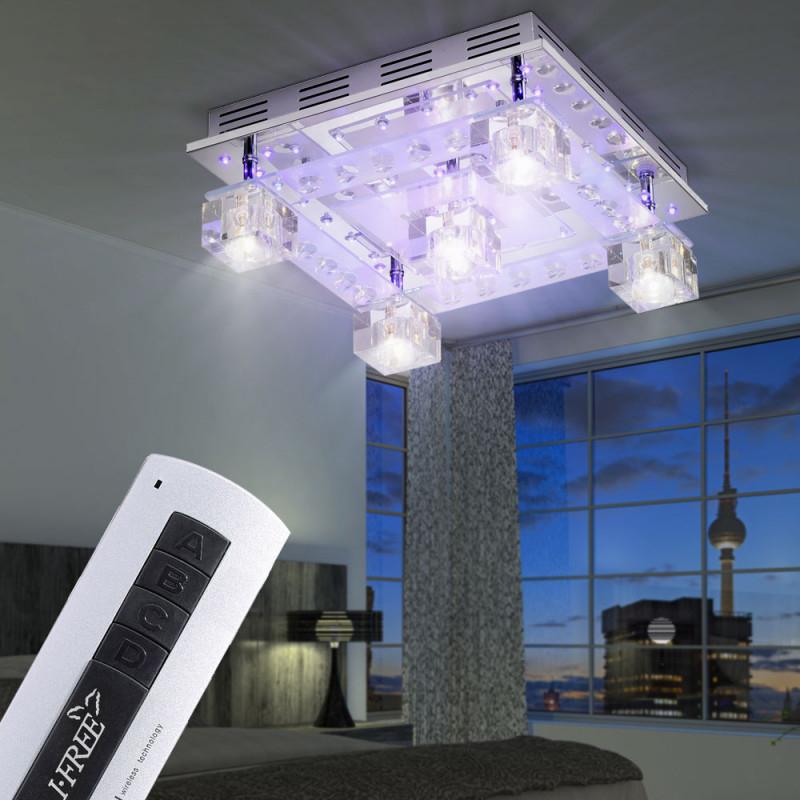 Kristall Glas Lampe Chrom Decken Leuchte Beleuchtung Wohn von Wohnzimmer Lampe Glas Photo
