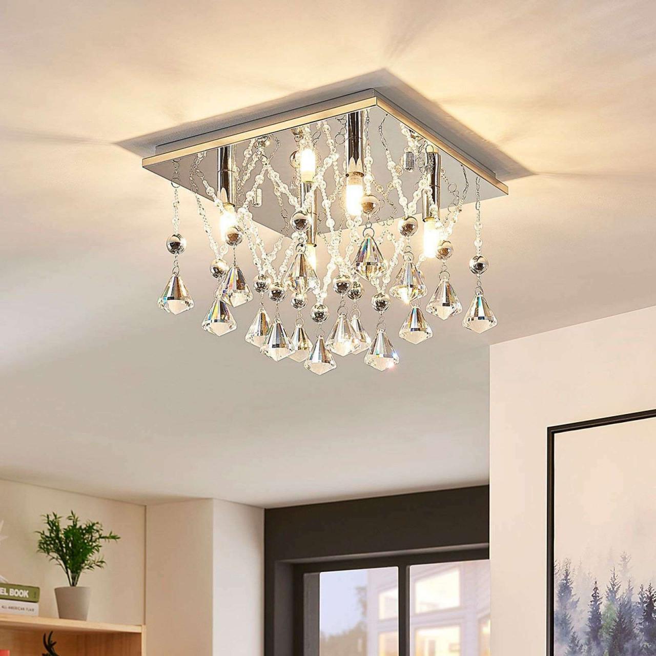 Küche Haushalt  Wohnen Möbel  Wohnaccessoires von Deckenleuchte Wohnzimmer Kristall Bild