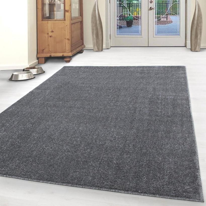 Kurzflor Teppich Einfarbig Robust Gabbeh Optik Wohnzimmerteppich Grau  Meliert von Wohnzimmer Teppich Grau Bild